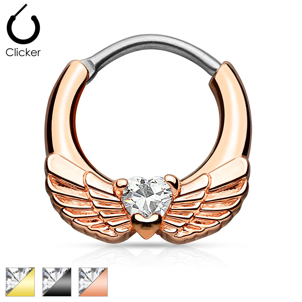Septum Clicker Engel Flügel Engelsflügel Farbwahl Kristall Nasen Septum Piercing